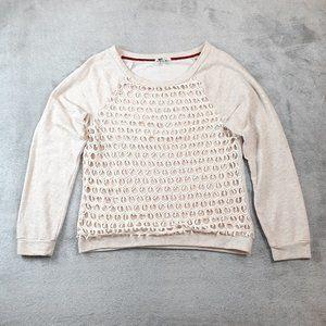 Kut From The Kloth Crochet Overlay Sweatshirt L